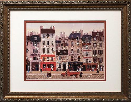 "Michel Delacroix ""Au Bon Muscadet"" CUSTOM FRAMED Primitive Art Notre Dame"