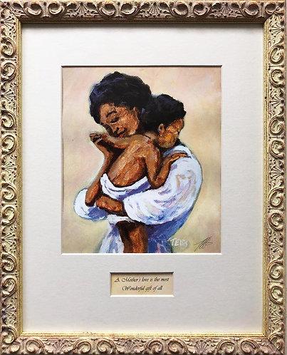 "Ted Ellis ""A Mother's Love"" Custom Framed African American Art"
