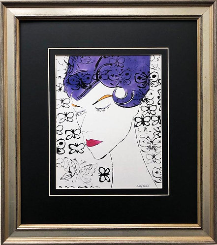 "Andy Warhol ""Female Head with Stamps"" CUSTOM FRAMED Pop Art Lithograph"