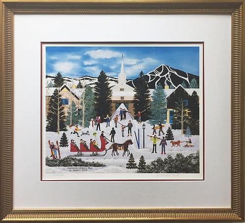 "Jane Wooster Scott ""Embracing the Winter Joys"" CUSTOM FRAMED Hand Signed SKIING"