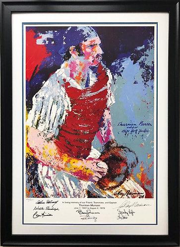"""LeRoy Neiman """"Thurman Munson"""" Signed by 7 Yankees FRAMED Baseball Art"""