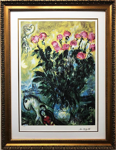 "Marc Chagall ""Les Roses"" Custom Framed Art Limited Offset Lithograph"