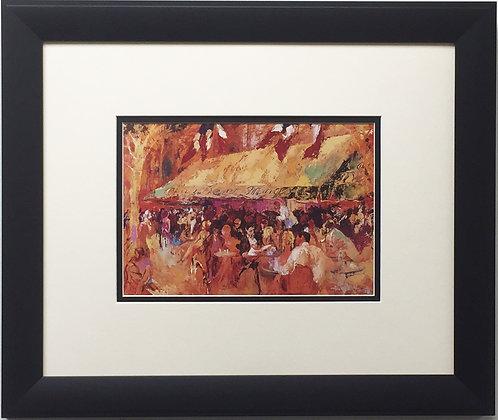 """LeRoy Neiman """"Cafe Les Deux Magots"""" CUSTOM FRAMED Art Print Paris Saint Germain"""