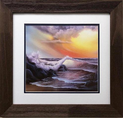 """Bob Ross """"Waves in Sunset"""" CUSTOM FRAMED ART"""