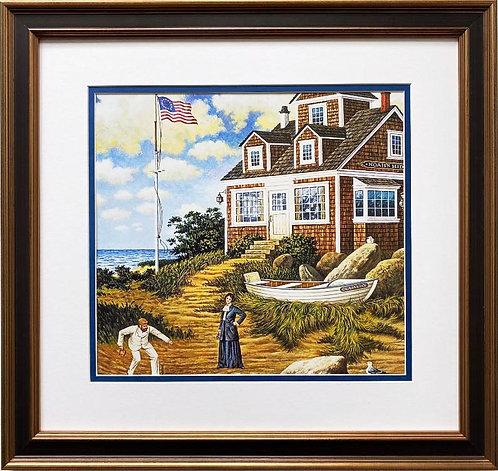 """Charles Wysocki """"A Delightful Day on Sparkhawk Island"""" New CUSTOM FRAMED Art"""