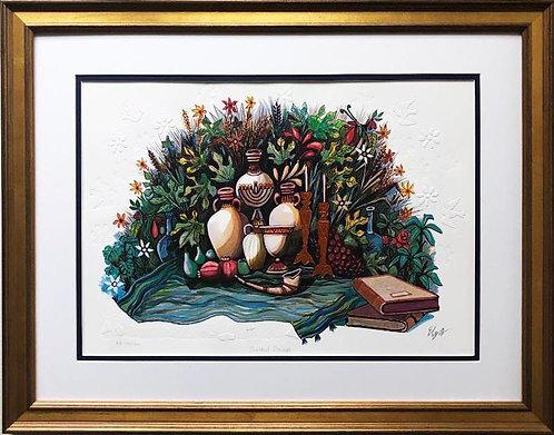 """Amram Ebgi """"Shabbat Shalom"""" FRAMED Signed & # Art"""