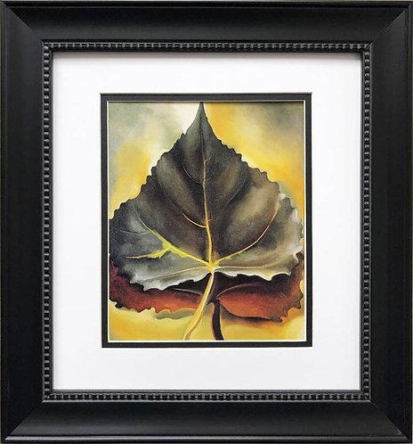 """Georgia O'Keeffe """"Grey and Brown Leaves"""" 1929 Art Print Custom Framed"""