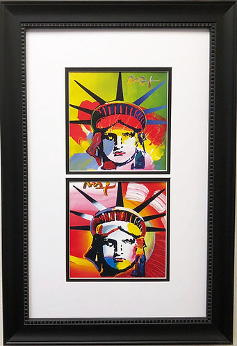 "Peter Max ""Liberty Heads '03-'04"" CUSTOM FRAMED Print Art POP Psychedelic"