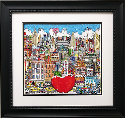 "Fazzino ""Winter Visit in the Big City"" Custom Framed Pop Art Print"