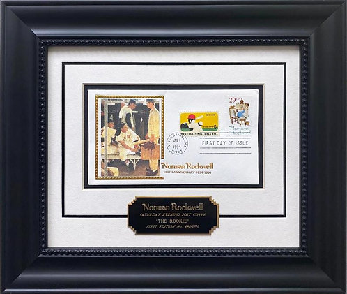 """Rockwell """"The Rookie"""" Stamp Lmtd Edition Framed Art"""