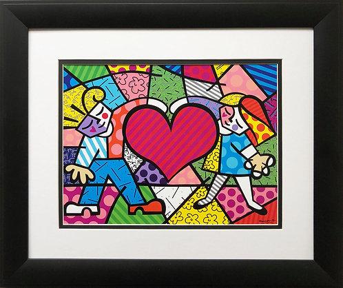 "Romero Britto ""Heart Kids"" NEWLY CUSTOM FRAMED Art Print - POP ART Children Fun"