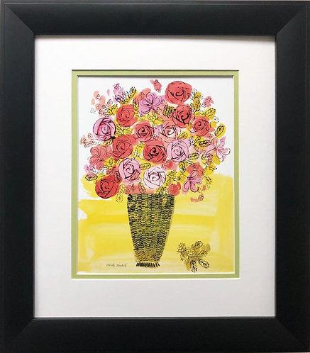 "Andy Warhol ""Basket of Flowers"" 1958 CUSTOM FRAMED Pop Art Litho"