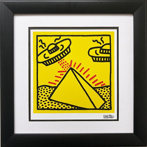"""Keith Haring """"Untitled"""" (Pyramids with UFOs) CUSTOM FRAMED Pop Art Plate Signed"""