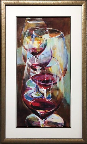"Amy Dixon ""Wine Tasting"" CUSTOM FRAMED Contemporary Art"