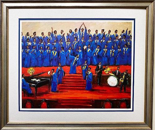 "Ted Ellis ""Gospel Soul Choir"" Hand Signed & # Framed African American Art"
