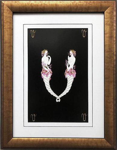 """Erte """"V"""" CUSTOM FRAMED Vintage Print Art Deco Alphabet Letter Suite"""