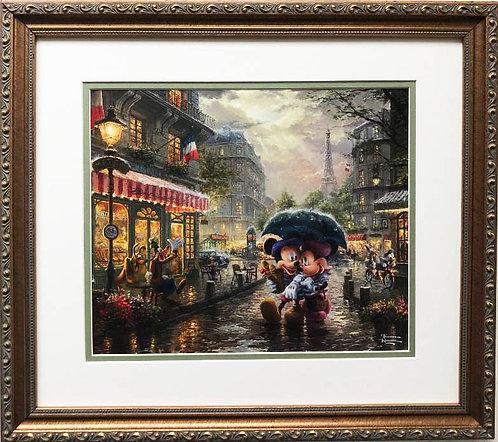 "Thomas Kinkade ""Mickey & Minnie in Paris"" New FRAMED Art Print"