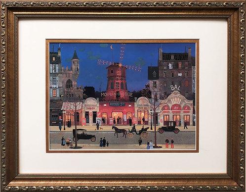 "Michel Delacroix ""Moulin Rouge a La Nuit""  CUSTOM FRAMED Art Paris Theater Night"