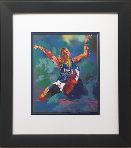 "LeRoy Neiman ""Carl Lewis"" Newly CUSTOM FRAMED Art Print TEAM U.S.A 1984 Olympics"
