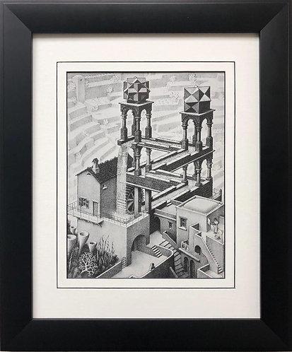 """M.C.Escher """"Waterfall"""" 1961 CUSTOM FRAMED Art"""