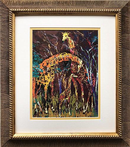 """LeRoy Neiman """"Giraffe Family""""  NEW Framed Art Jungle Animal Africa Safari"""