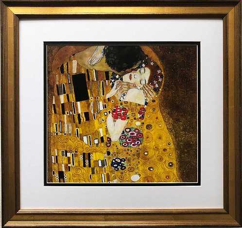 """Gustav Klimt """"The Kiss""""- Detail CUSTOM FRAMED ART"""