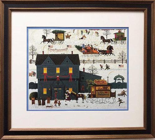 "Charles Wysocki ""A Warm Christmas Love"" New CUSTOM FRAMED Art"