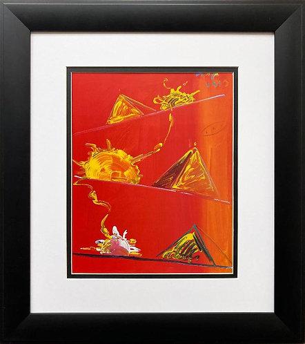 "Peter Max ""Rising Sun"" CUSTOM FRAMED Print"
