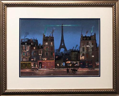 """Michel Delacroix """"Tour Eifel La Nuit"""" Framed Stone Lithograph Art"""