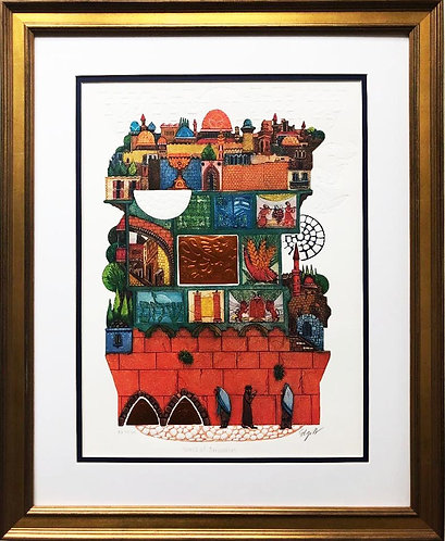 "Amram Ebgi ""Walls of Jerusalem"" FRAMED Signed & # Art"