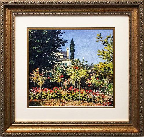 "Claude Monet ""Garden in Bloom, in Sainte-Adresse"" 1866 CUSTOM FRAMED"