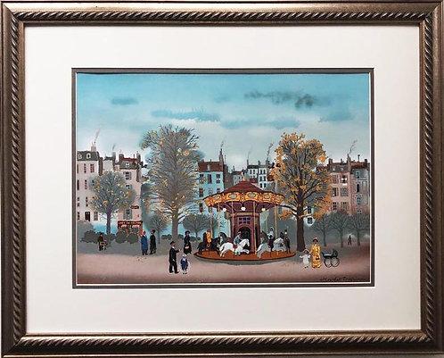 "Michel Delacroix ""Carousel"" Framed Stone Signed Lithograph Art"