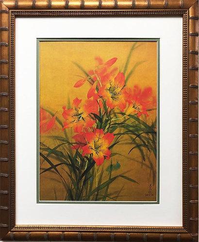 """David Lee """"Tiger Lily"""" New Custom Framed Art"""