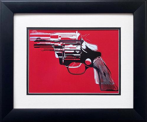 "Andy Warhol ""Gun""' CUSTOM FRAMED Pop Art (white & black on red)"