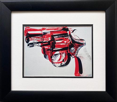 "Andy Warhol ""Gun '81-82"" (Black and Red on white) CUSTOM FRAMED Pop Art"