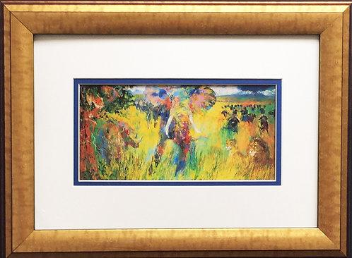 "LeRoy Neiman ""The Big Five"" Newly CUSTOM FRAMED Print Animals Elephant Lion 5"