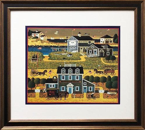 """Charles Wysocki """"Witch's Bay"""" New FRAMED Art Americana Primitive"""