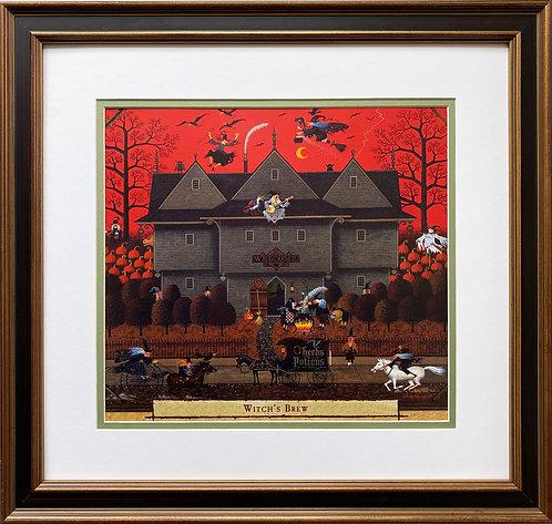 """Charles Wysocki """"Witch's Brew"""" New CUSTOM FRAMED Art"""