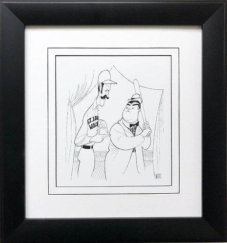 "Al Hirschfeld ""Abbott & Costello - Whose on First?""  CUSTOM FRAMED Decorative AR"