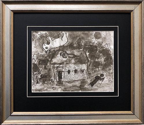 """Marc Chagall """"Le Soir Au VIllage"""" Newly CUSTOM FRAMED Art Rare"""