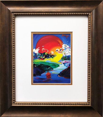 "Peter Max ""Better World 2012"" CUSTOM FRAMED Print Art POP psychedelic"