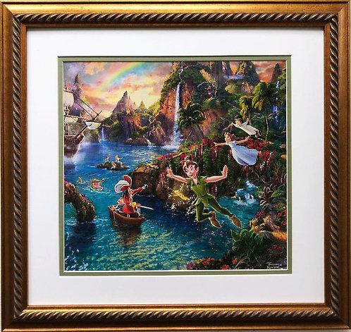 """Thomas Kinkade """"Peter Pan's Neverland"""" New CUSTOM FRAMED Art"""