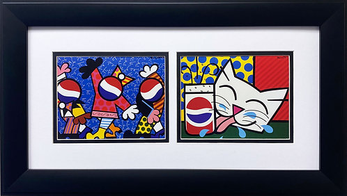 "Romero Britto ""Pepsi Collage"" CUSTOM FRAMED Pop Art"