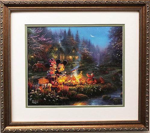 """Thomas Kinkade """"Mickey & Minnie Sweetheart Campfire"""" New FRAMED Art Print"""
