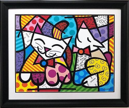 "Romero Britto ""Happy Cat & Snob Dog"" (lg) NEWLY CUSTOM FRAMED Art Print"