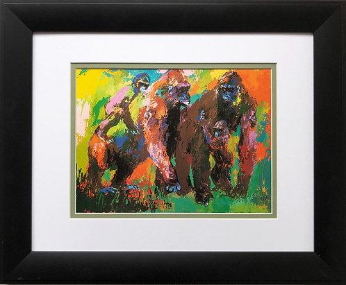 """LeRoy Neiman """"Gorilla Family"""" New FRAMED  Print Jungle Jane Goodall Animal"""