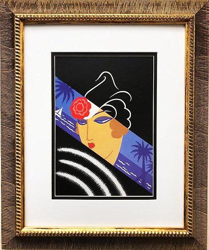 """Erte """"Winter Resorts"""" CUSTOM FRAMED Print"""