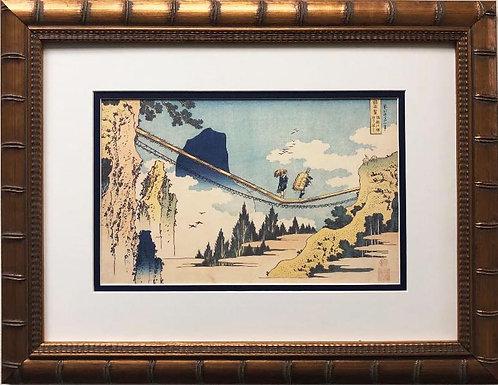 "Katsushika Hokusai ""The Suspension Bridge"" 1830 New Custom Framed Asian Art"