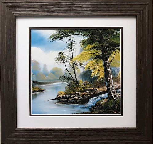 "Bob Ross ""By the Stream"" Happy Trees CUSTOM FRAMED ART Nature  Print Forest"
