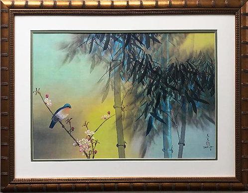 "David Lee ""Spring Bamboo"" Custom Framed  Art"
